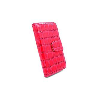Iphone 5 5S Wallet Cover Crocodile Leather Case Red