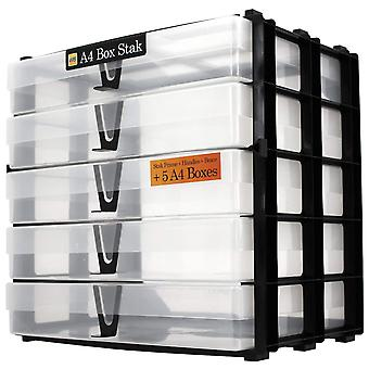 WestonBoxes A4 Box Stak, Storage Unit Including 5 Clear A4 Boxes