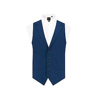 Dobell Mens Bright Blue Waistcoat Tailored Fit