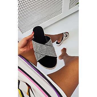 IKRUSH Mulheres Corrie Diamante Crossover Sandálias Flatform