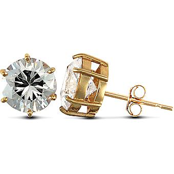 Jewelco London Solid 9ct Yellow Gold White Round Brilliant Cubic Zirconia 6 Claw Solitaire Heavy Weight Stud Earrings, 10mm