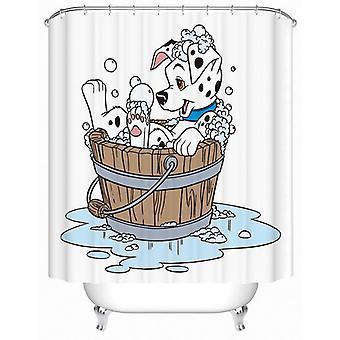 Cartoon Dalmatian Dog Taking A Bath Shower Curtain