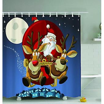 Santa And His Reindeer Shower Curtain