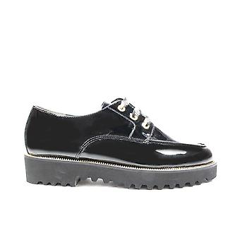 Paul Green 2540-00 Black Patent Leather Womens Lace Up Shoes