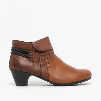 Rieker 70570-24 Ladies Block Heel Ankle Boots Brandy/brown