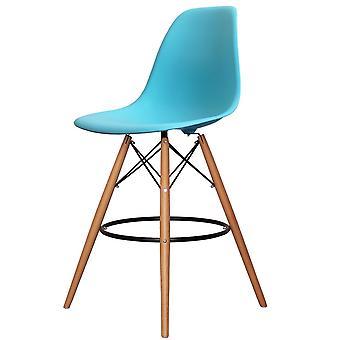 Charles Eames Styl Pearl Niebieski plastikowy stołek barowy