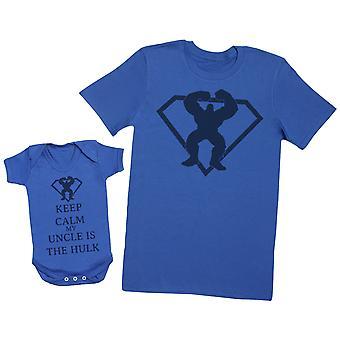 الحفاظ علي الهدوء عمي هو الهيكل مطابقه الأب الطفل هديه مجموعه-الرجل تي شيرت & ارتداءها الطفل