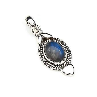 Amuleto de caneta corrente prata 925 Pedra labradorita de prata esterlina (Não: MAH 125-05)
