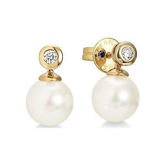 Yana Nesper Pearl Stud scallier earrings 750GG Brill. 0.05 ct w si Akoya 7-7.5mm AP17-7