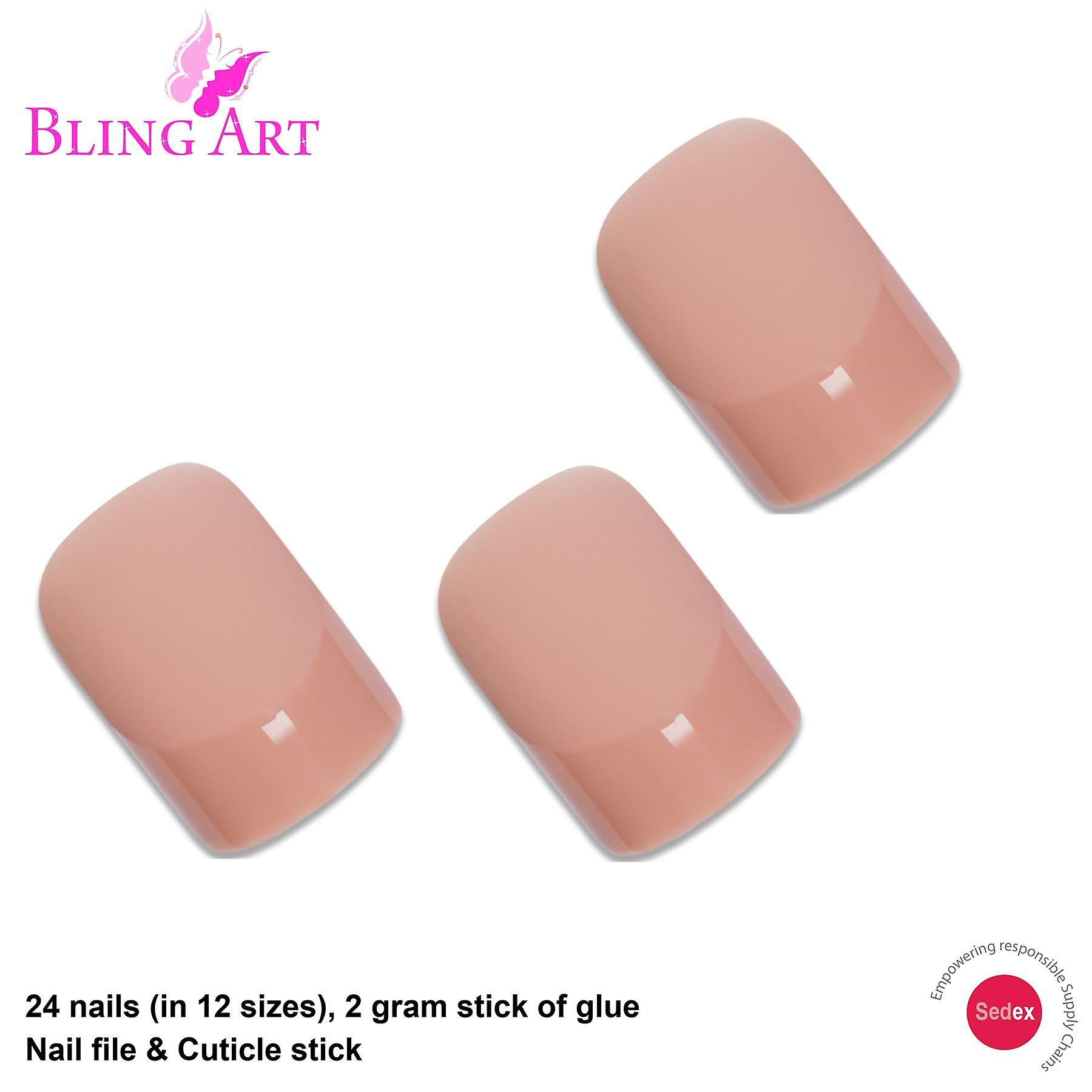 False nails by bling art beige matte french squoval 24 fake medium acrylic tips