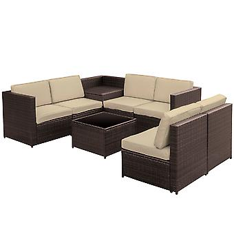 Outsunny 8 pcs Rattan Garden Furniture Patio Sofa and Table Set  with Cushions 6 Seater Corner Wicker Seat Brown