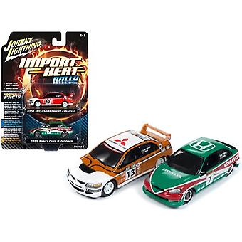 2004 Mitsubishi Evolution Rally #13 Ralliart and 2000 Honda Civic Rally #7 Lonestar Set of 2 pieces 1/64 Diecast Model Cars by Johnny Lightning