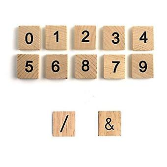 Wooden Printed Numbers (/), (&) Symbol Replacement Scrabble Numbers