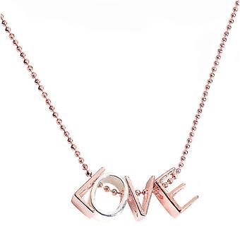 Ah! Jewellery Love Necklace Finished With Solid Sterling Silver & 18K Rose Gold Vermeil Letter Pendants