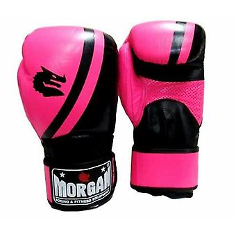 Morgan V2 Professional Leather Boxing Gloves Fluro Pink Black