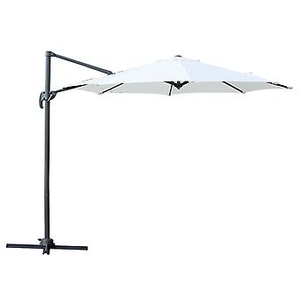 Outsunny 3 meter Patio Offset Roma Parasol Umbrella Cantilever Hanging Sun Shade Canopy Shelter 360° Rotation with Cross Base - Cream White