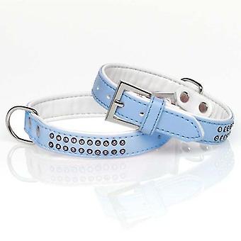 Mgz Alamber Collar Diamantes 2 Filas Azul 35 X 2 Cm