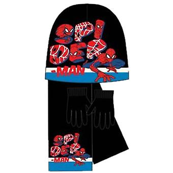 Marvel spiderman hat scarf and gloves winter set