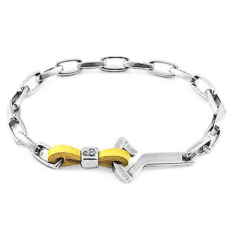 Anchor & Crew Mustard Yellow Frigate Anchor Silver And Flat Leather Bracelet