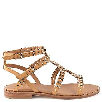 Ash PENELOPE Sandals Nude Leather & Gold Rings