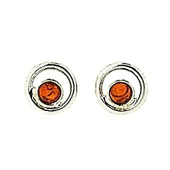 The Olivia Collection 925 Silver Concentric Circles Cognac Amber Stud Earrings