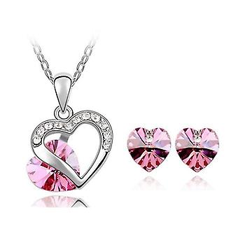 TOC Silvertone Pink Crystal Heart Stud Earrings & Pendant Necklace Gift Set