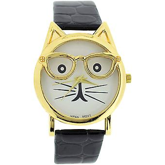 The Olivia Collection Ladies/Girls White Dial Cat Face Black Croc Effect Watch