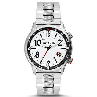 Columbia Outbacker Quartz Preto Dial Prata Pulseira de Aço Inoxidável Men's Relógio CSC01-006