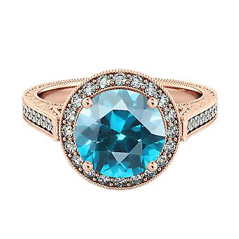 Blue Topaz 2.10 ctw Ring with Diamonds 14K Rose Gold Halo Filigree With Accents