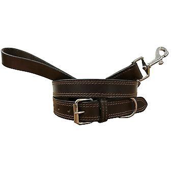 Bradley crompton genuine leather matching pair dog collar and lead set cdkupb835