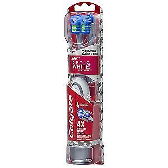 Colgate 360 fiberoptisk hvit platinum drevet tannbørste & påfyll, 1 ea