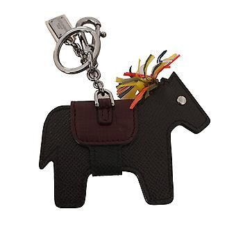 Dolce & Gabbana Brown Horse Pony Studded Keyring Leather Keychain SMYK308