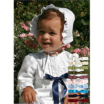 White Cotton Christening Gown With Bonnet And 10 Choices Of Bow – Grace Of Sweden