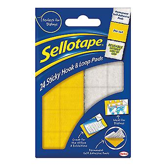 Sellotape Hook and Loop Pads (Pack of 24)