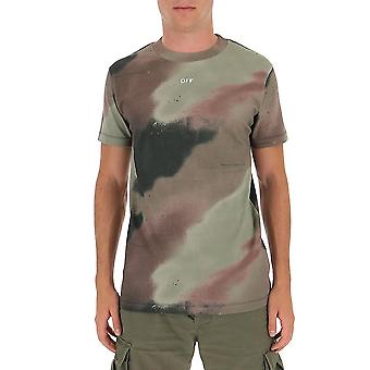 Off-bianco Omaa027e20jer0076001 Uomo's Camouflage Cotton T-shirt