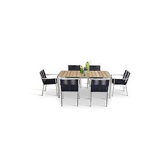 Acier inoxydable Table à manger 180 cm - Teck