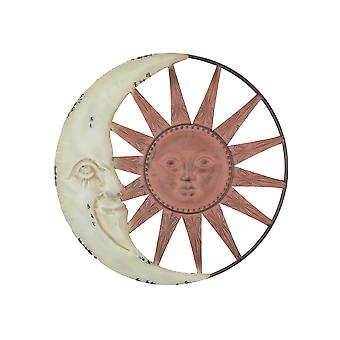 Distressed Tuscan Enamel Finish Metal Celestial Sun and Moon Indoor Outdoor Wall Art