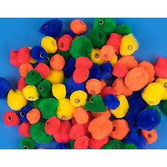 90 Perles de Pom Pom couleur primaire avec trou de filetage