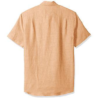 Essentials Men's Slim-Fit kortærmet linned skjorte, Orange, X-Large