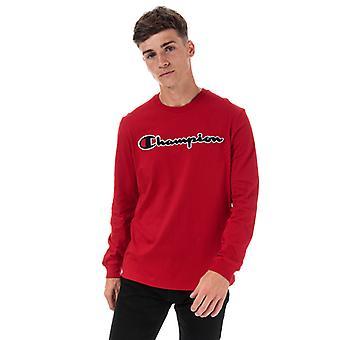 Men's Champion Large Logo Long Sleeve T-Shirt en rouge