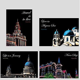 城市夜景纸画玩具