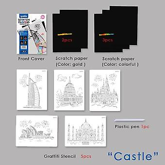 Magic Color Rainbow Scratch Paper Card Set with Graffiti Wzornik do rysowania Diy Painting