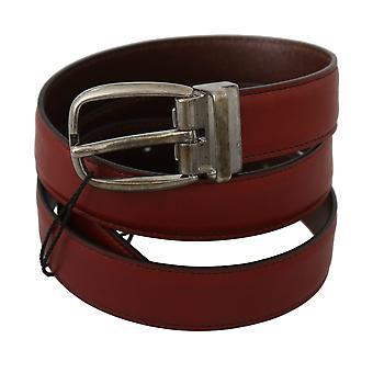 Dolce & Gabbana Bordeaux Red Leather Metal Buckle Belt BEL60356-85
