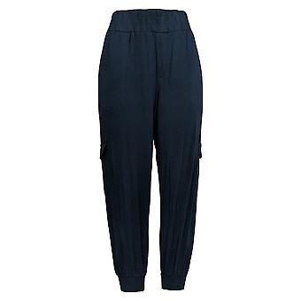 Anybody Women's Petite Pants Cozy Knit Cargo Joggers Blue A310165
