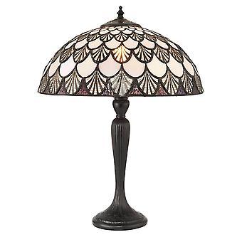 1 Ljus medium bordslampa mörk brons, Tiffany Glas, E27