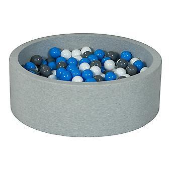 Hoyo de bolas 90 cm con 300 bolas blancas, azules y grises