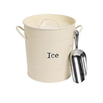Industrial Ice Bucket with Scoop - Vintage Style Double Walled Steel Champagne Cooler - Cream