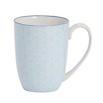 Nicola Spring Geometrische Patroon Thee en Koffie Mok - Grote porselein latte cup - Elektrisch Blauw - 360ml