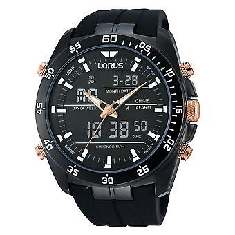 Lorus Stylish Analogue/Digital Chronograph Watch Black Silicone Strap (RW615AX9)