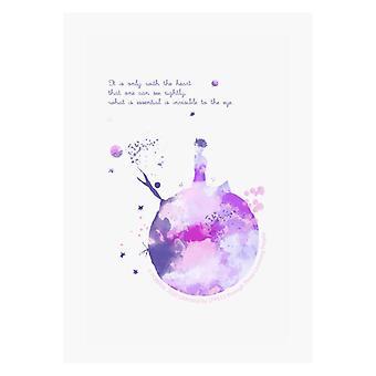 Der kleine Prinz Lila Paint Effekt Herz Zitat A4 Druck